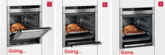 Slide and hide oven door